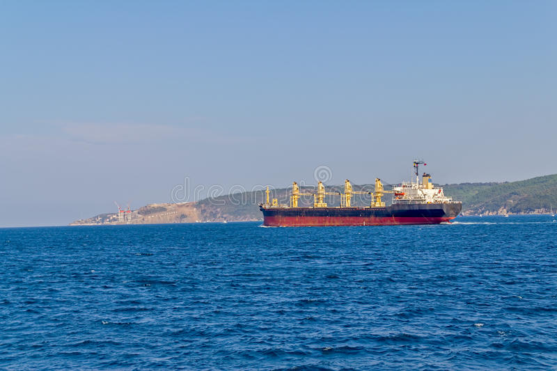 Entering Black Sea. The ship sails Bosphorus and entering to the Black Sea stock image