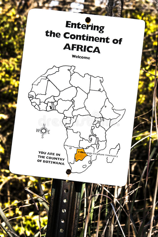 Entering the Continent of Africa sign on a zoo trail royalty free stock photography