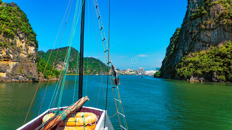 Entering Halong Bay royalty free stock image