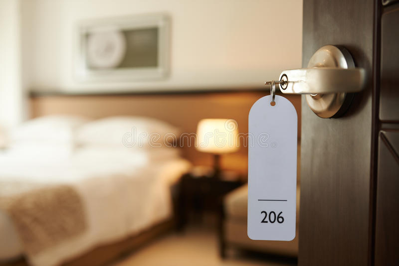 Entering hotel room stock photos