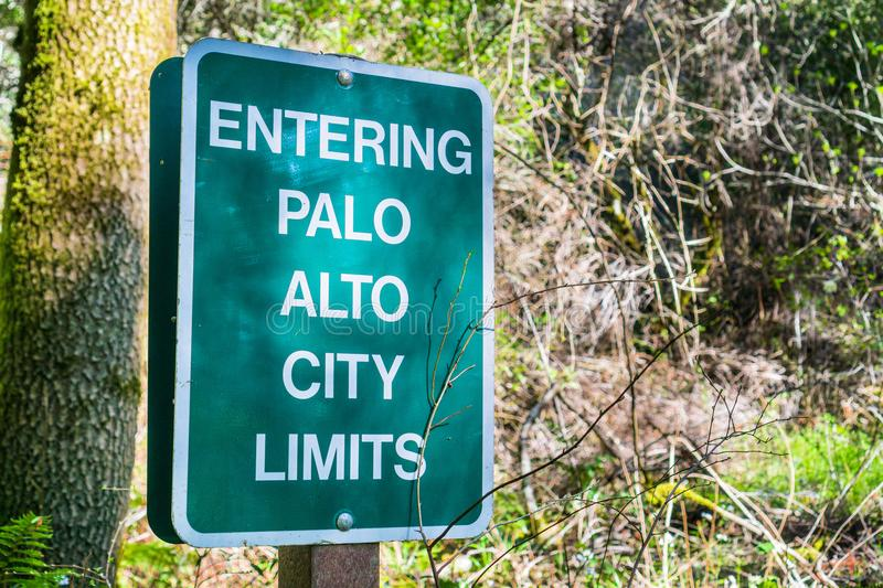 Entering Palo Alto City Limits sign. Posted on one of the trails, San Francisco bay area, California stock photography