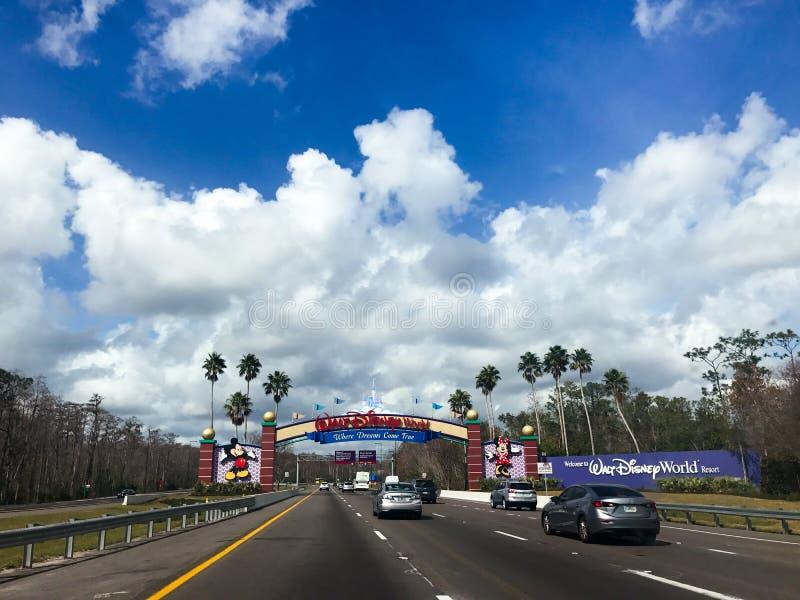 Entering Walt Disney World in Orlando, Florida. stock photos