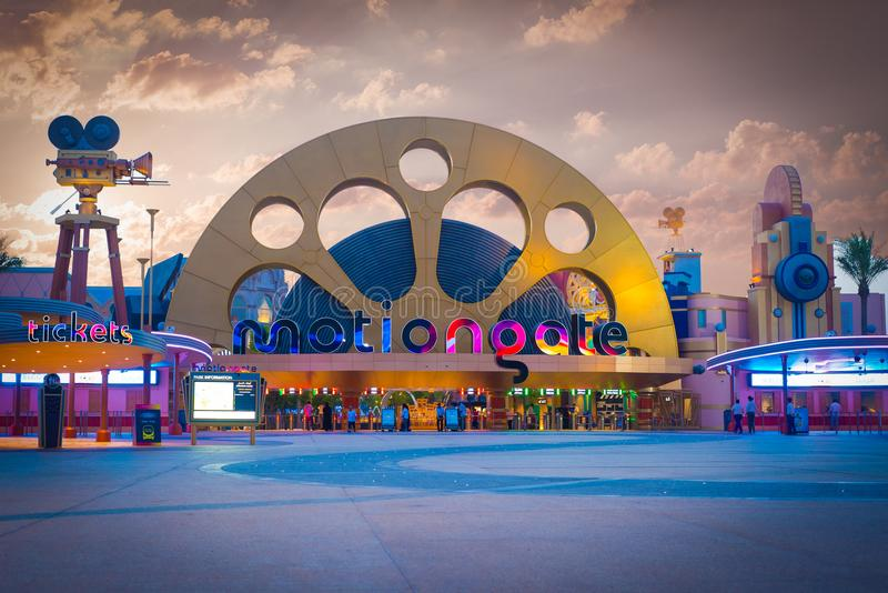 Enternance ao parque de Dubai e aos recursos - MotionGate Dubai - Tomasz Ganclerz - Dubai, parque de Dubai e recursos amusemen do imagem de stock royalty free