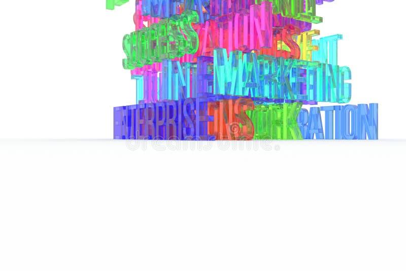 Enterprise, business conceptual colorful 3D rendered words. Artwork, communication, design & typography. Enterprise, business conceptual colorful 3D rendered stock illustration