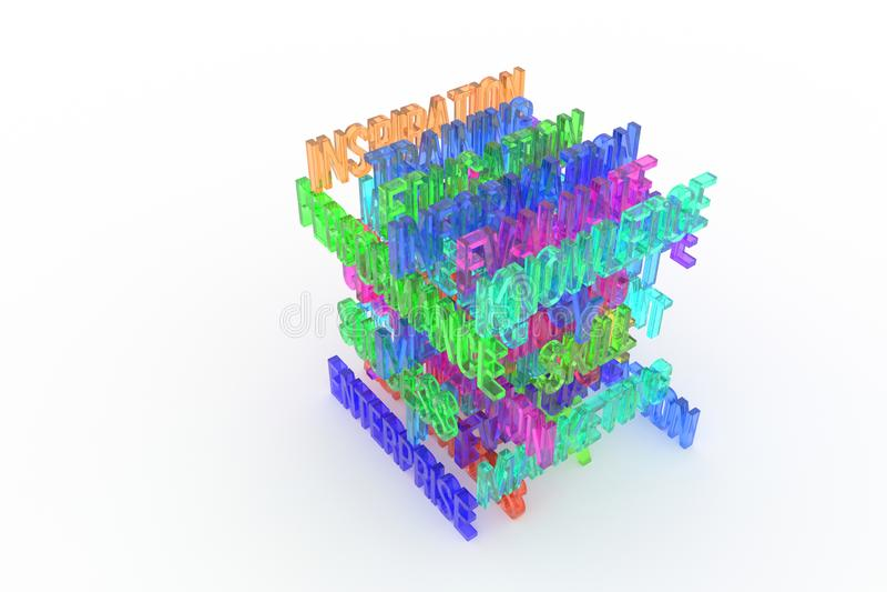 Enterprise, business conceptual colorful 3D rendered words. Background, web, alphabet & communication. Enterprise, business conceptual colorful 3D rendered stock illustration