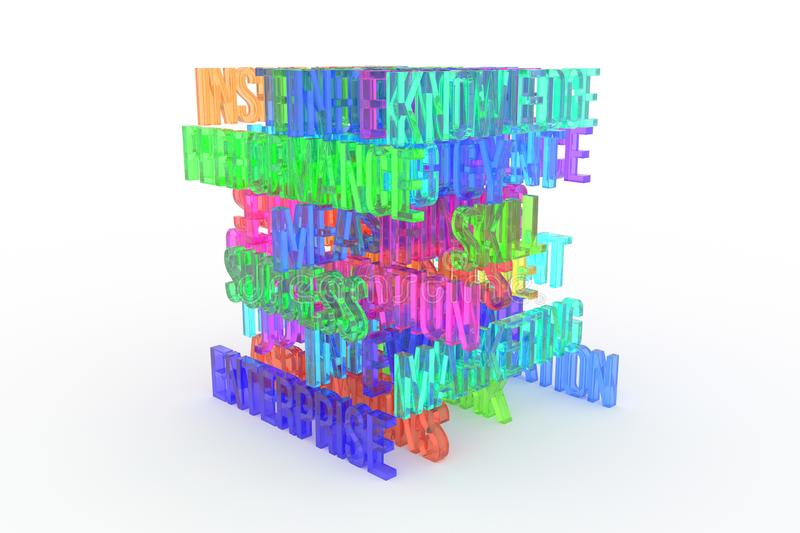 Enterprise, business conceptual colorful 3D rendered words. Typography, title, positive & backdrop. Enterprise, business conceptual colorful 3D rendered words royalty free illustration