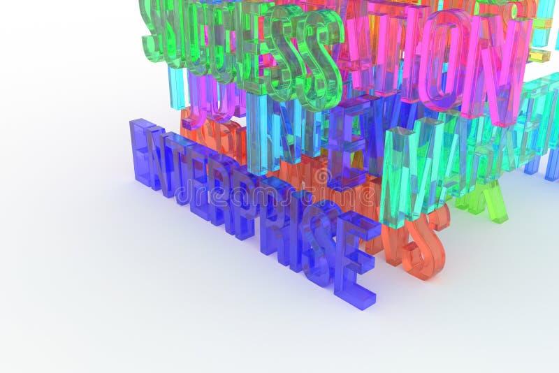 Enterprise, business conceptual colorful 3D rendered words. Web, positive, background & cgi. Enterprise, business conceptual colorful 3D rendered words royalty free illustration