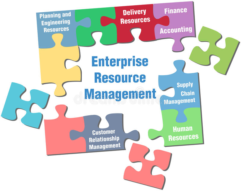 Enterprise Resource Management puzzle solution. Solution to Enterprise Resource Management jigsaw puzzle pieces stock illustration