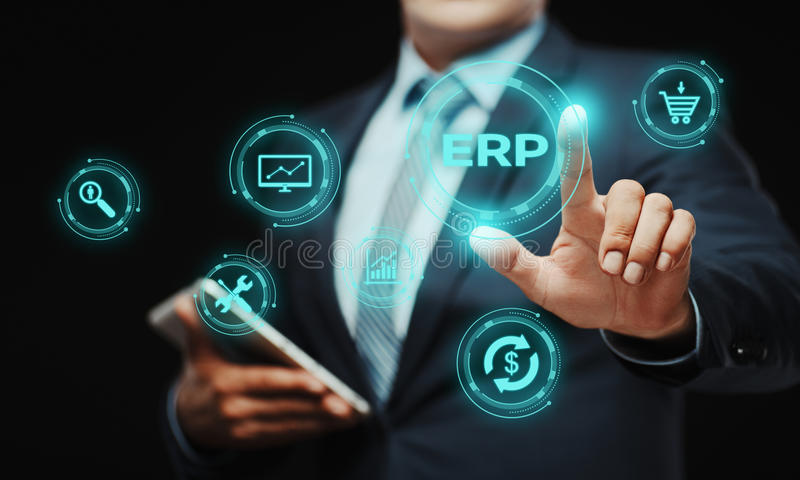 Enterprise Resource Planning ERP Corporate Company管理企业互联网技术概念 免版税库存照片