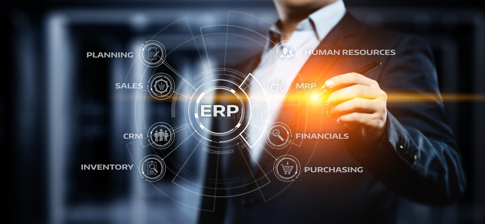 Enterprise Resource Planning ERP Corporate Company Management Business Internet Technology Concept.  royalty free stock image