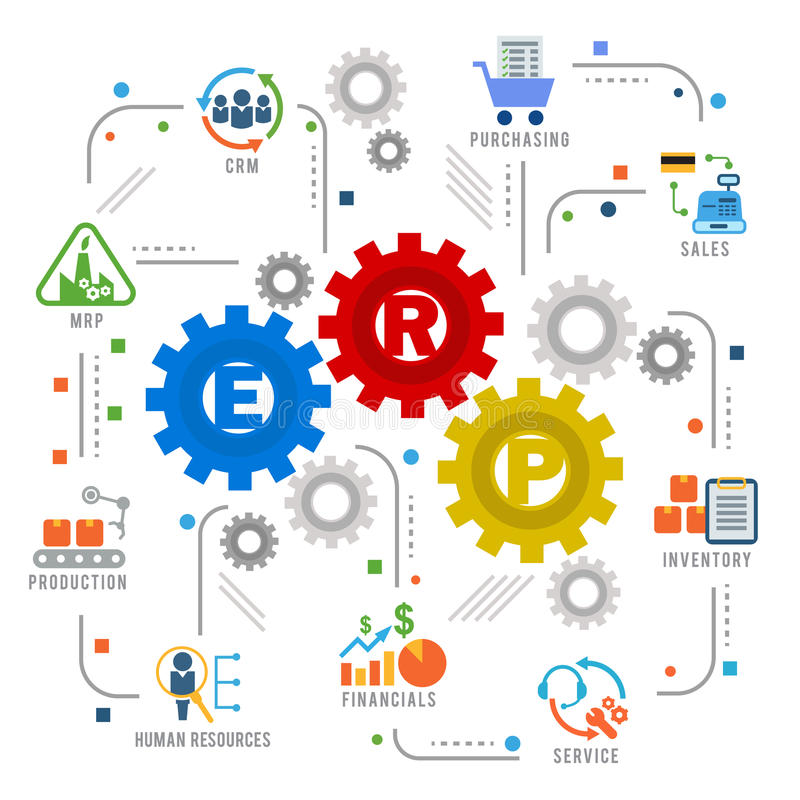 Enterprise resource planning ERP module gear Construction flow icon art abstract vector design royalty free illustration