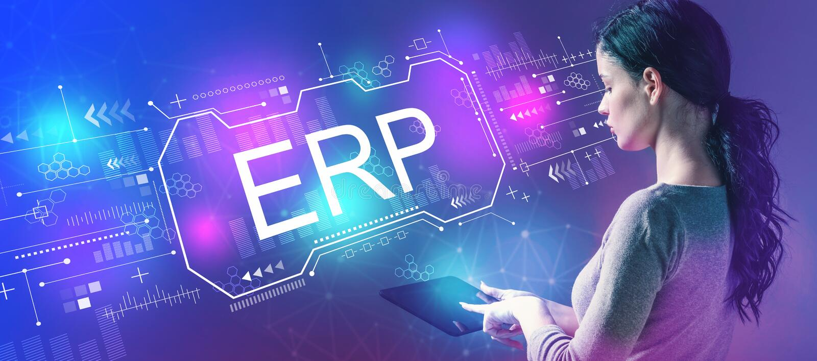 Enterprise resource planning with woman using a tablet royalty free stock photography