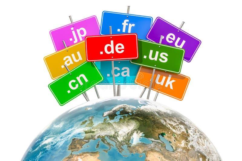 Enterre o globo com Domain Name níveis mais alto do código de país, renderi 3D ilustração stock