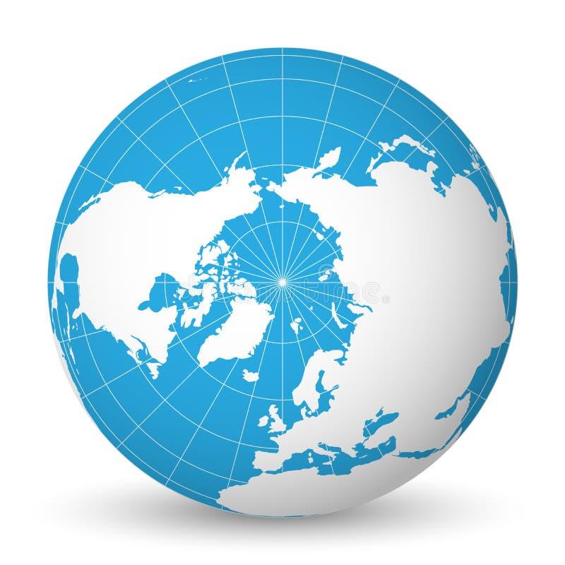 Enterre o globo com mapa do mundo branco e os mares e os oceanos azuis focalizados no oceano ártico e no Polo Norte Com branco fi ilustração royalty free