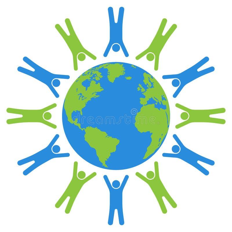 Enterre o globo com povos, formando o círculo e o globo ilustração do vetor