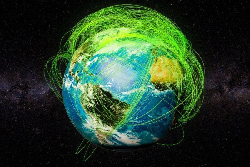 Enterre o globo e o conceito real das rotas de voo, rendição 3D ilustração stock