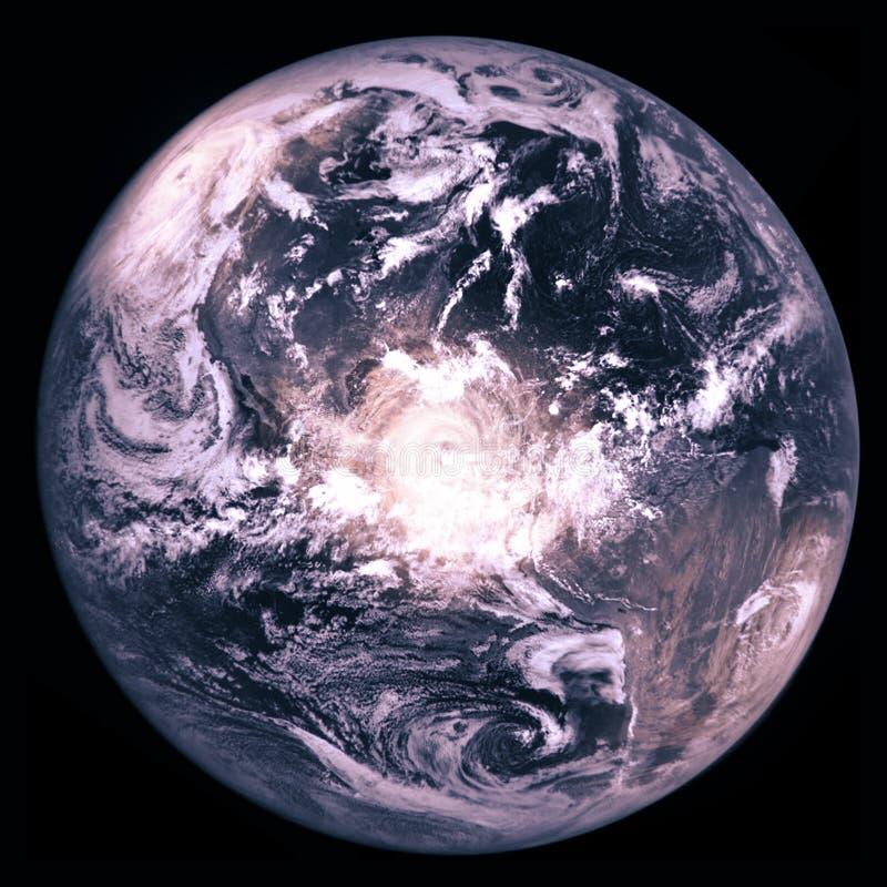 Enterre o planeta com três furacões enormes, colagem fotografia de stock