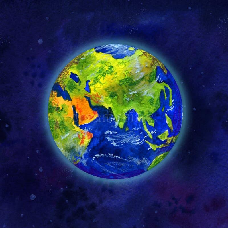 Enterre o planeta na opinião do espaço de Ásia e de Europa - entregue a ilustração tirada da aquarela ilustração do vetor