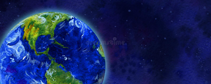 Enterre o planeta no espaço - entregue a ilustração tirada da aquarela ilustração stock