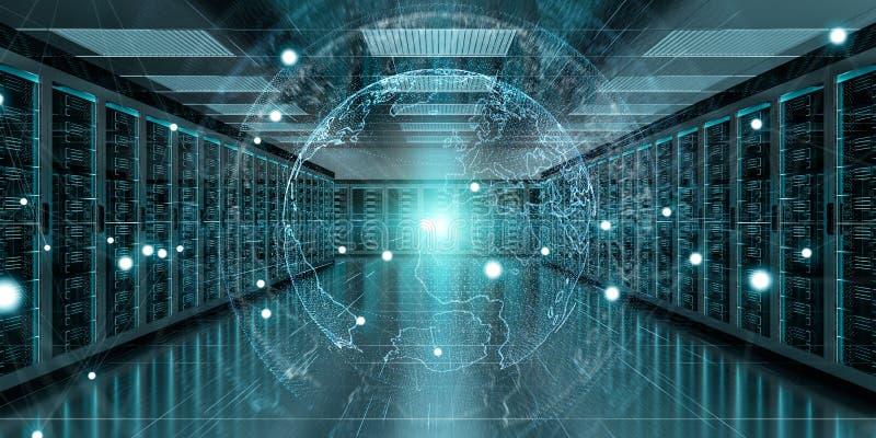 Enterre a rede que voa sobre a rendição do centro de dados 3D da sala do servidor ilustração royalty free