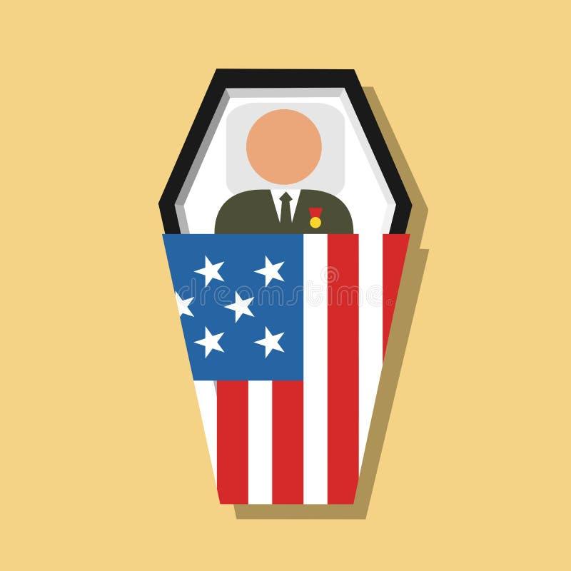 Enterrement cérémonieux de soldat et de combattant morts de l'armée des Etats-Unis d'Amérique Etats-Unis illustration stock