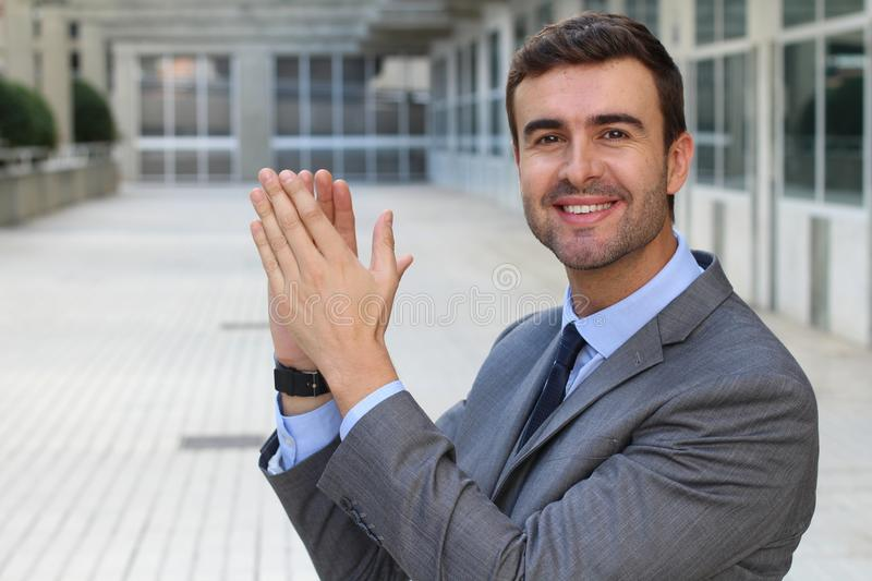 Entertained man clapping with joy.  royalty free stock photos