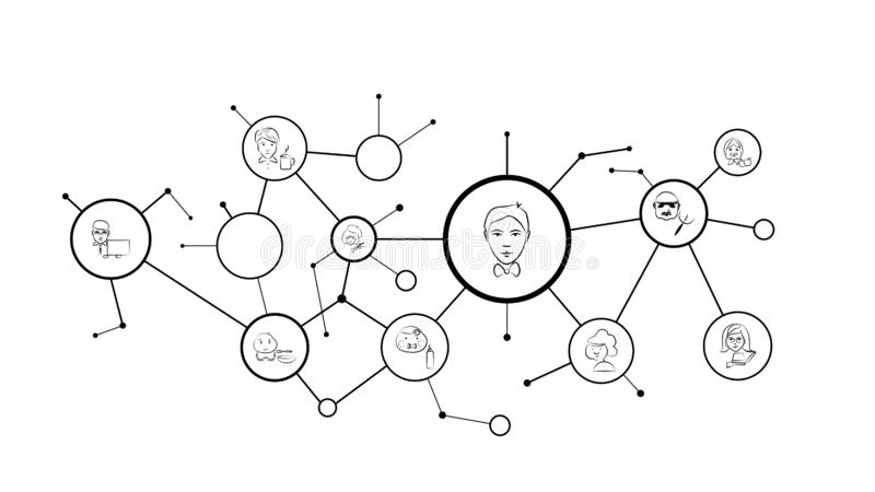 Entertainer avatar sketch style icon. From Avatar Profertion set. On the bacground with circles stock illustration