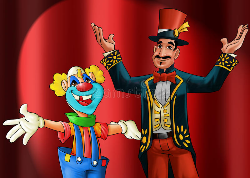 Entertainer and clown. Entertainer and a clown smiling to start the show royalty free illustration