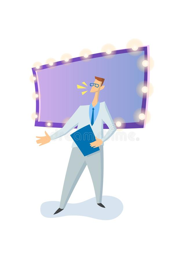 Entertainer, emcee, TV-show host in studio. Colored flat vector illustration. Isolated on white background.  stock illustration