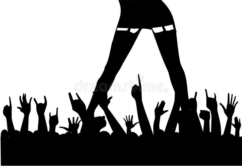 Entertainer. A female artist entertaining an enthusiastic audience vector illustration
