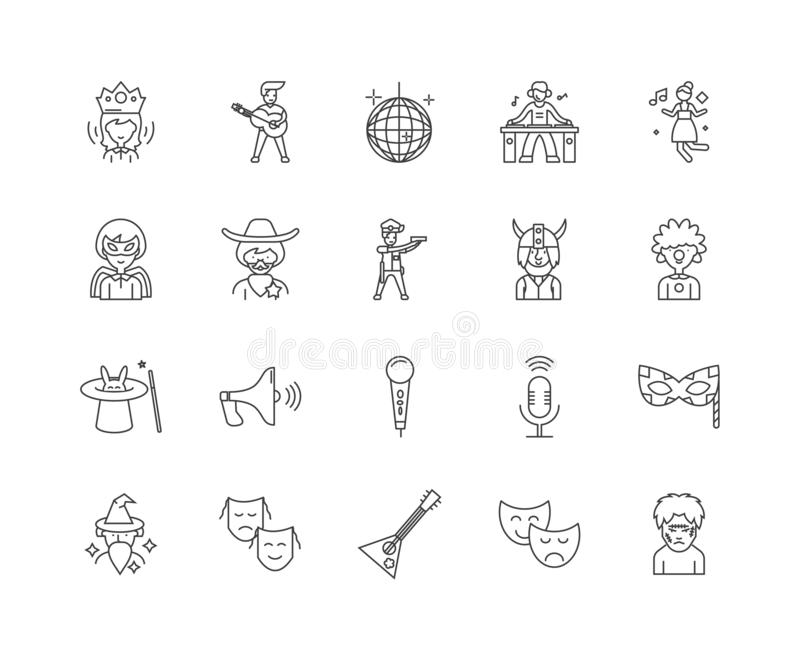 Entertainer line icons, signs, vector set, outline illustration concept. Entertainer line icons, linear signs, vector set, outline concept illustration vector illustration