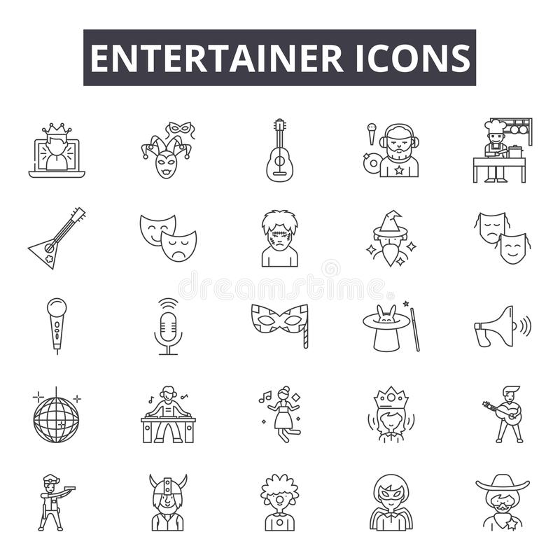 Entertainer line icons for web and mobile design. Editable stroke signs. Entertainer  outline concept illustrations. Entertainer line icons for web and mobile stock illustration
