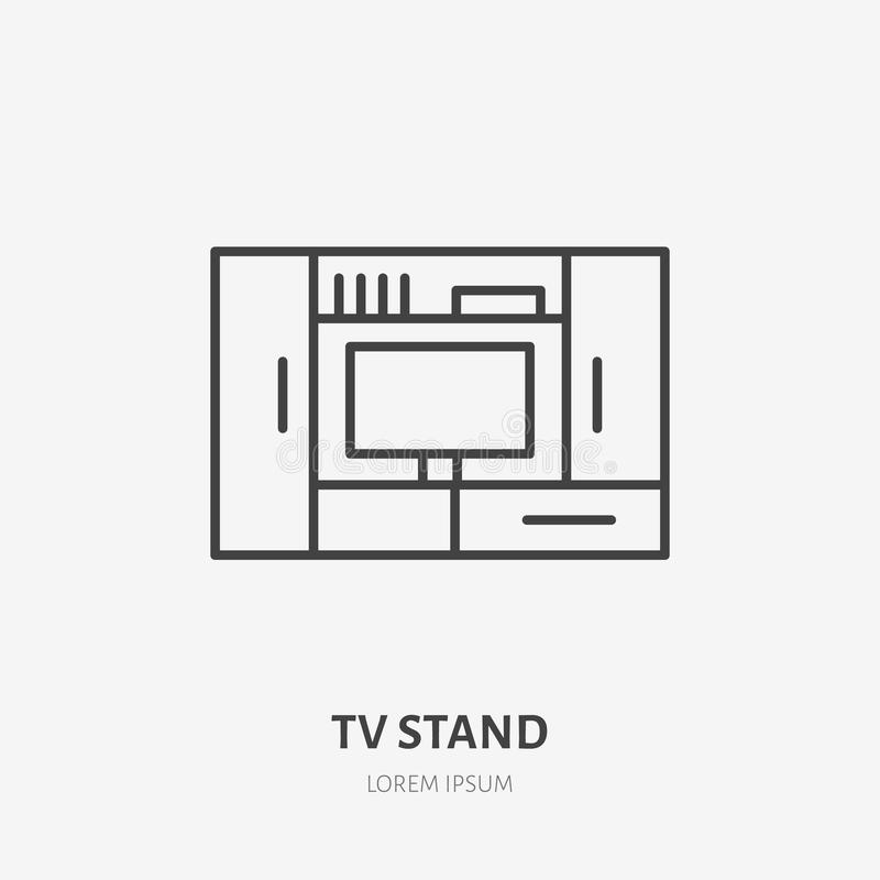 Entertainment center flat line icon. Apartment furniture sign, vector illustration of tv stand. Thin linear logo for royalty free illustration