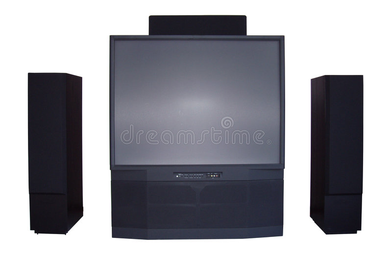 Entertainment center - isolated. Tv & speakers stock photography