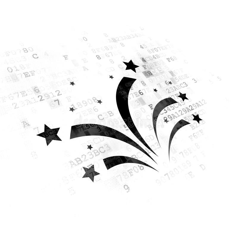 Entertainment, concept: Fireworks on Digital background. Entertainment, concept: Pixelated black Fireworks icon on Digital background stock illustration