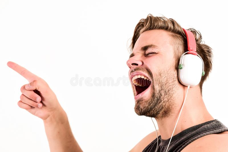 Entertainment concept. Music drives him. Dj style. Equipment for dj. Start this party. Man handsome dj using modern. Headphones. Professional musical software royalty free stock photography