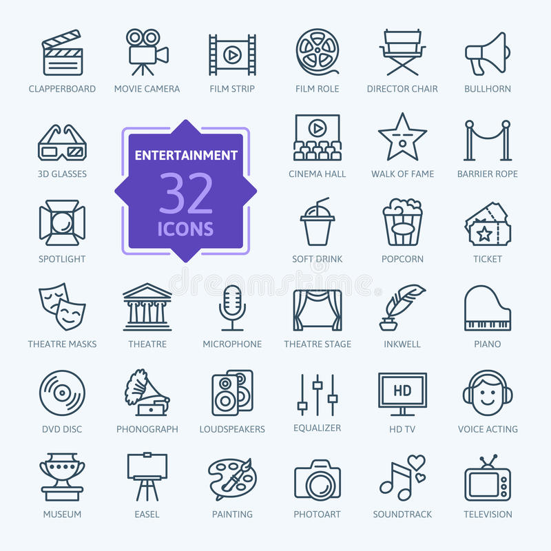Entertainment icon set - outline icon collection, vector vector illustration