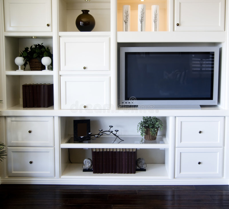 Entertainment Shelving Area In Living Room Stock Photo