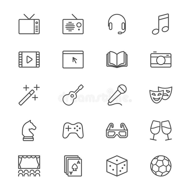 Entertainment thin icons stock illustration