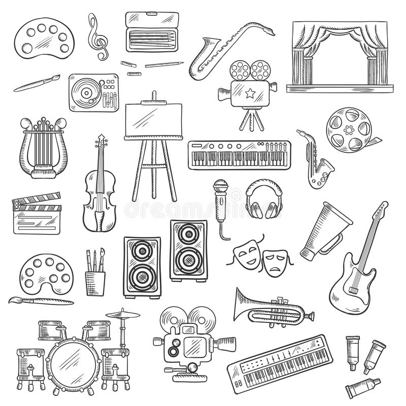 Entertainment and visual arts sketch icons. Entertainment themed sketches with palettes, paint brushes and easel, movie cameras and film reel, microphone and stock illustration