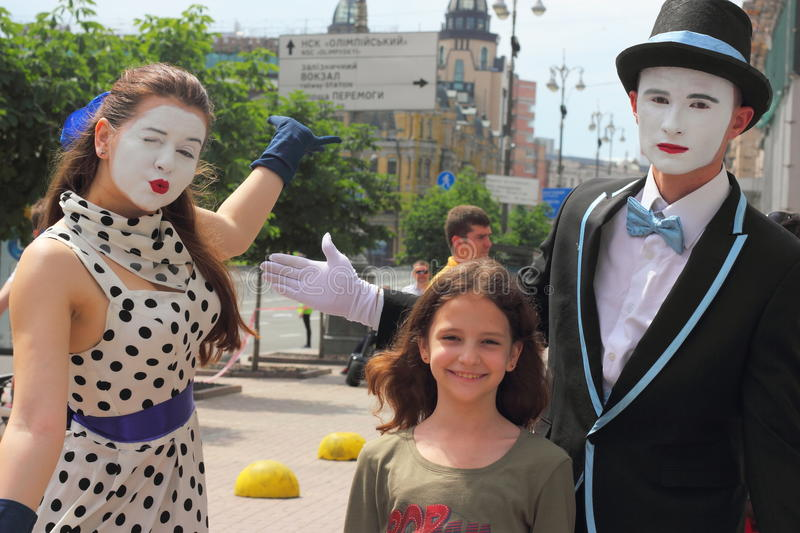 Entertainment work mimes in the street stock photos