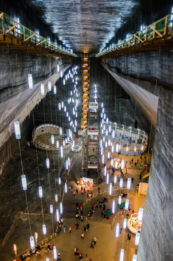 Entertainment zone in the salt mine Turda, Cluj, R royalty free stock photos