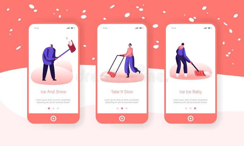 Entfernen von Schnee und Eis nach dem integrierten Blizzard-Bildschirm 'Mobile App Page' Freuen Menschen entfernen Schneeflöße mi stock abbildung