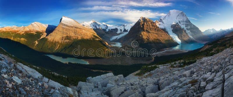 Entfernte panoramische Landschaft von Berg See und von Snowy-Berg Robson Top in Jasper National Park Canadian Rocky-Bergen lizenzfreie stockfotografie