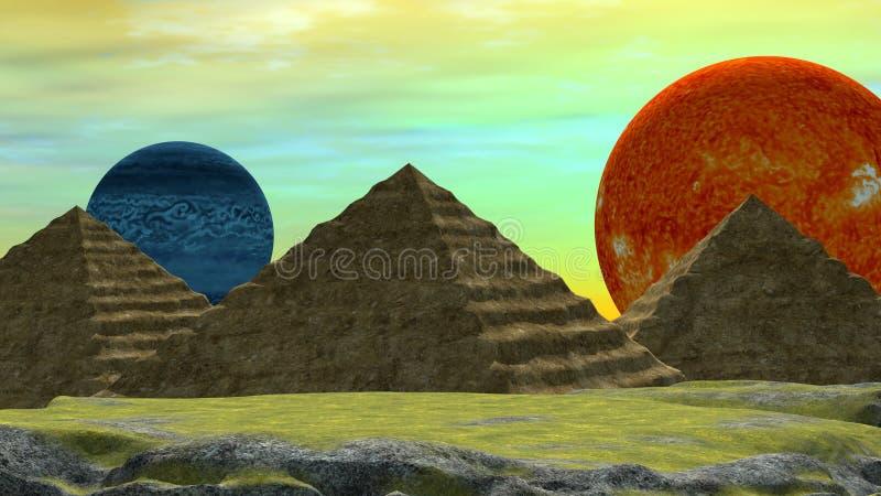 Entfernte Welt mit zwei Planeten und ägyptischen Art Pyramiden stockbild
