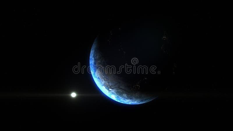 Entfernter umgedrehter Winkel von Planet Erde vom Raum während eines Sonnenaufgangs vektor abbildung