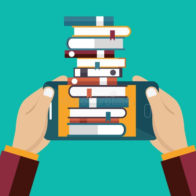 Entferntes E-Learning Digital-Buchkonzept Auf Linie Bildungskonzept in der flachen Art vektor abbildung