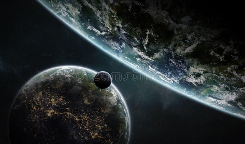 Entferntes Planetensystem im Raum mit exoplanets 3D Wiedergabe elem lizenzfreie abbildung