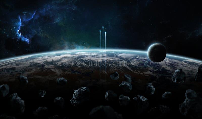 Entferntes Planetensystem im Raum mit exoplanets 3D Wiedergabe elem stock abbildung