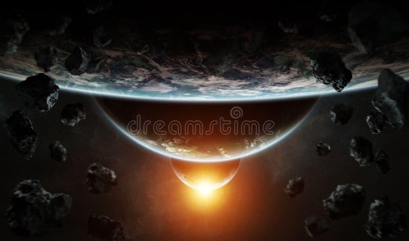 Entferntes Planetensystem im Raum mit exoplanets 3D Wiedergabe elem vektor abbildung